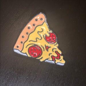 Evil pizza slice  face enamel pin butto.